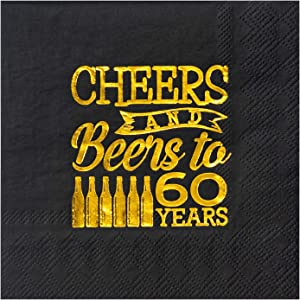 Crisky 60th Birthday Cocktail Napkins Black and Gold, Beverages Napkins for 60th Birthday Anniversary Decorations Cheers and Beers to 60 Years, 50 PCS, 3-Ply