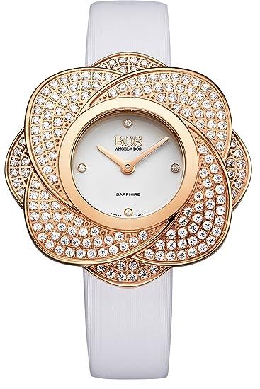 BOS Mujer Swarovski – acentuado Dorado movimiento Case banda de reloj de cuarzo suizo w/