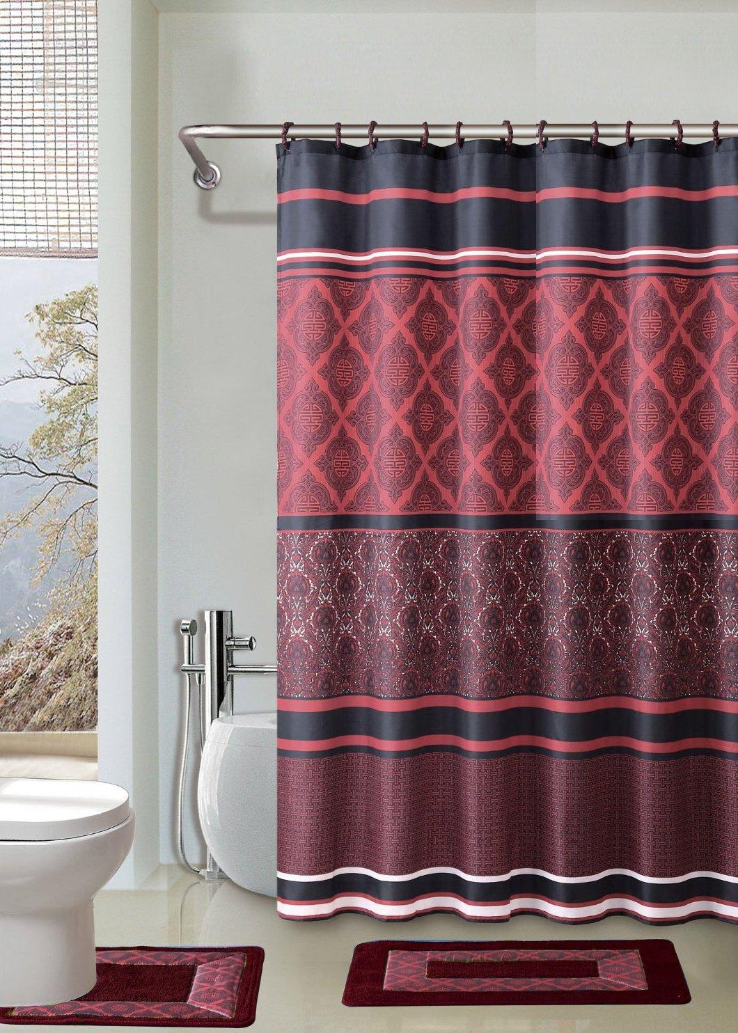 Amazon.com: Crimson Red & Black 15-Piece Bathroom Accessory Set: 2 ...