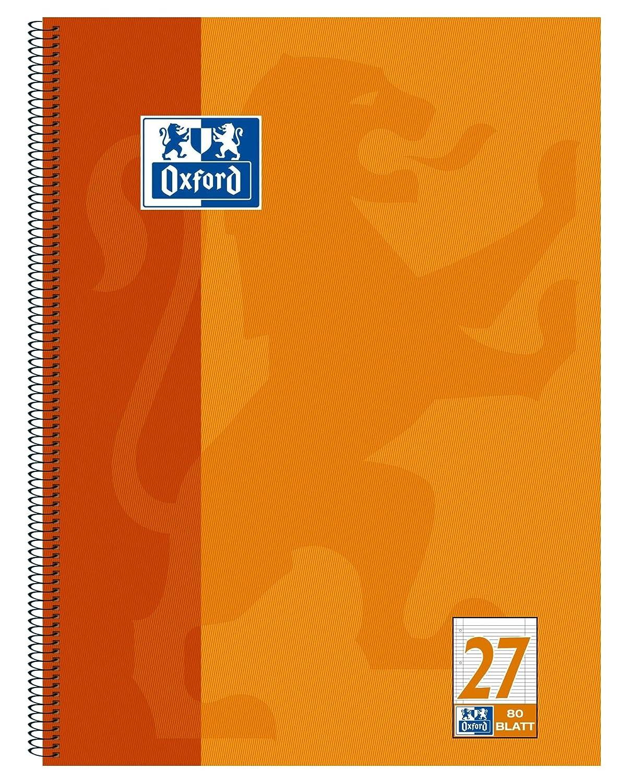Oxford, quaderno scolastico forato, A4, 80 pagine lineatura 27 - a righe con bordo a destra e a sinistra 10 pezzi orange Hamelin Brands 100050360