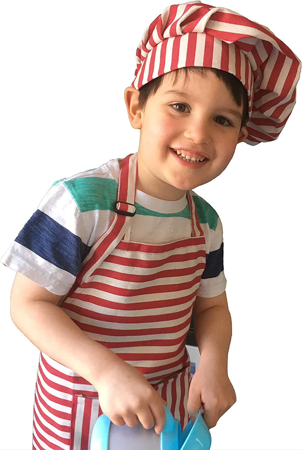 Dapper&Doll Red Stripe Kids Chef Hat and Apron for Boys Girls Ages 4-10