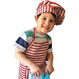 Dapper&Doll Kids Apron and Chef Hat - Gift Set for Kids Ages 4-10 - Red Stripe