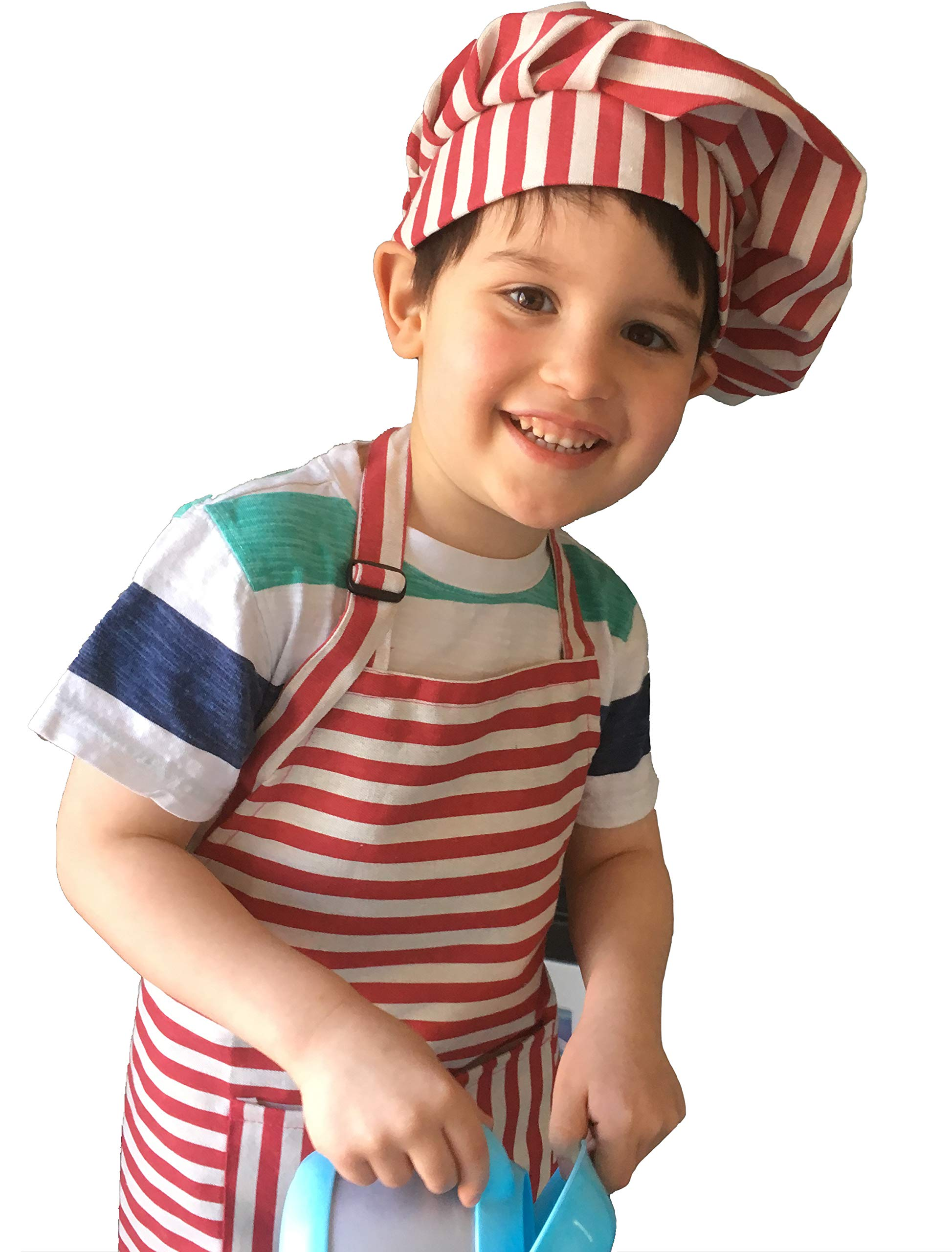 Dapper&Doll Red Stripe Kids Chef Hat and Apron for Boys Girls Ages 4-10 by Dapper&Doll