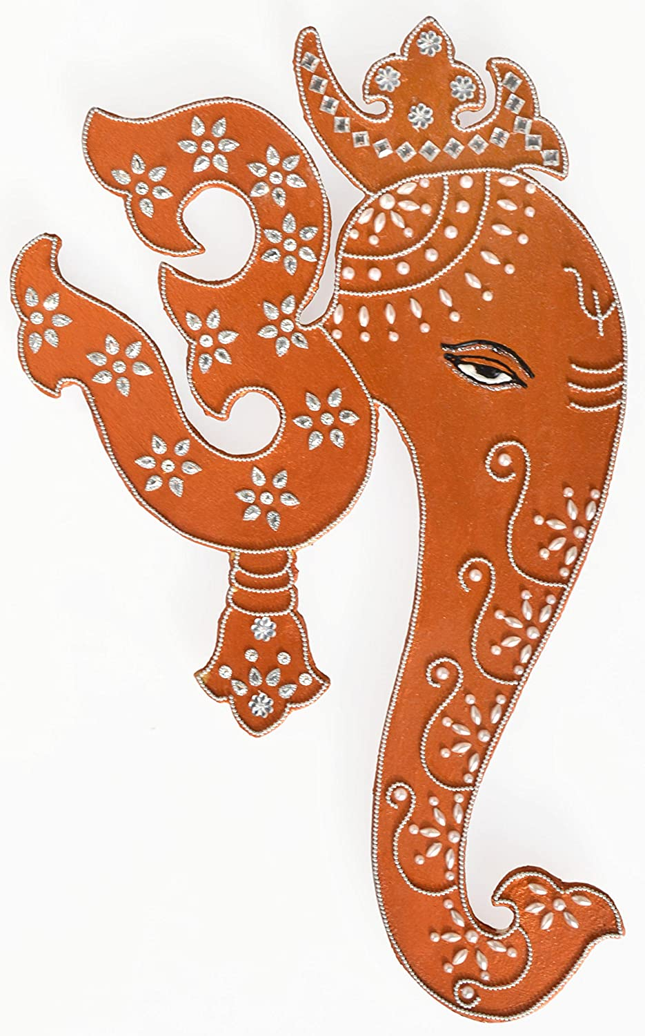 Ethnic Avenue Indian Art Wall Decor Hanging Painting of Lord Ganesha & Spiritual Om - Authentic Handmade Hindu Art of Prosperity - in Copper Shade