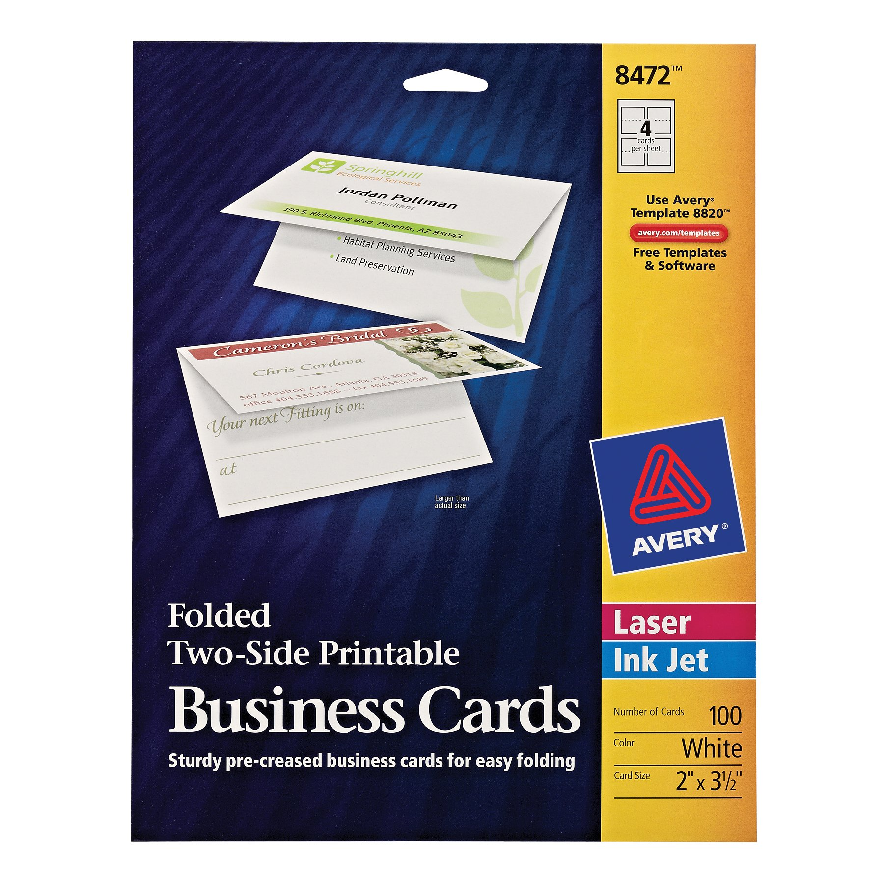Avery Folded Two-Side Printable Business Cards, Laser/InkJet, White, Uncoated , Pack of 100 (8472)
