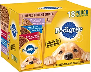 Pedigree Chopped Ground Dinner Adult Wet Dog Food, 3.5 oz. Pouches