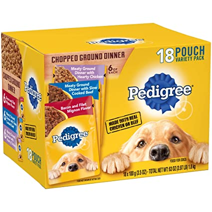 Pedigree Chopped Ground Dinner Adult Wet Dog Food Variety Pack 18