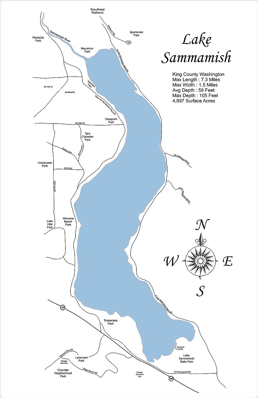 King County Topographic Map.Amazon Com Lake Sammamish Washington Standout Wood Map Wall