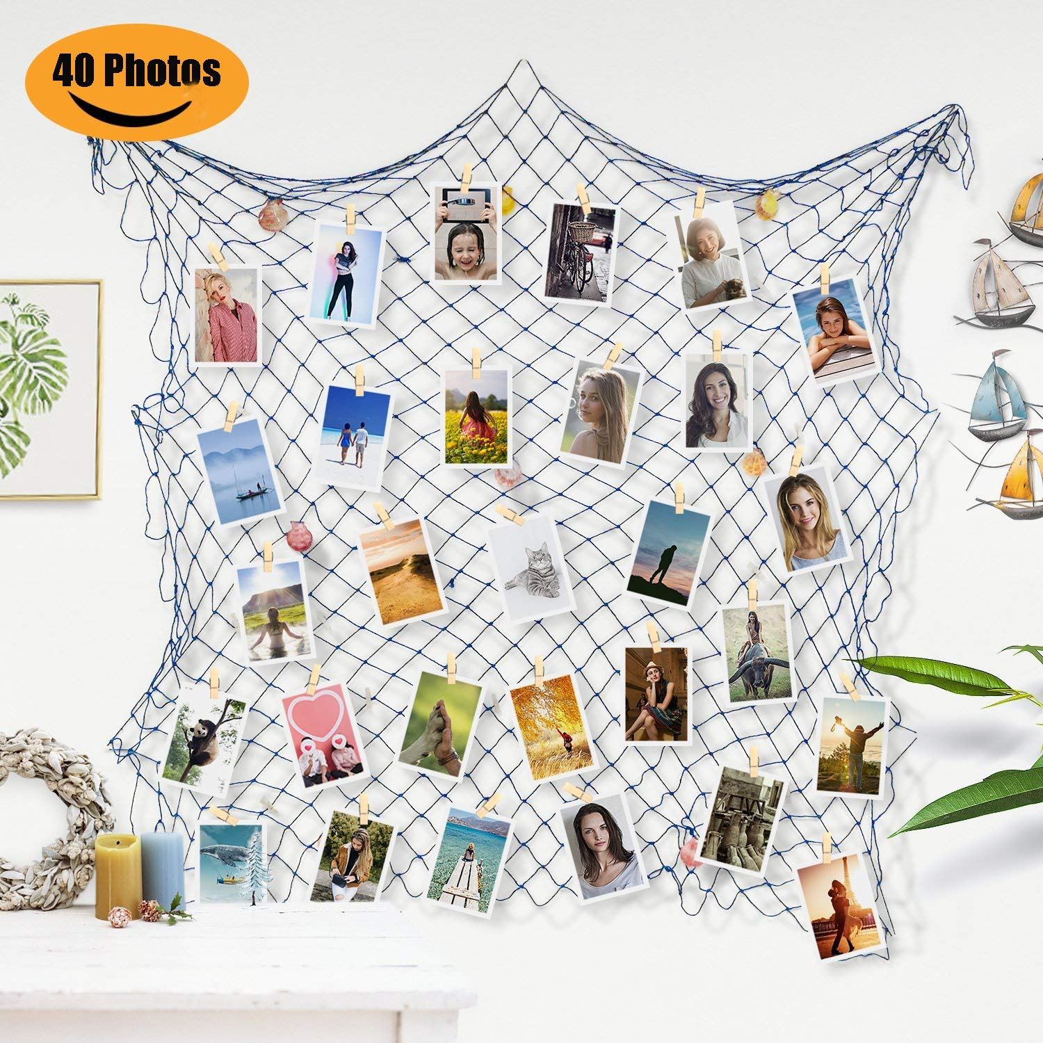ZUEXT Photo Hanging Display Frames 79x40 Inch, Fishing Net Picture Frames Holder Wall Decor w/ 40 Clips & Anchors, Artworks Photos Organizer, Nautical Theme Fish Net for Dorm Home Party Decorations