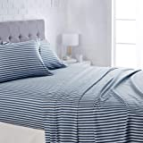 """AmazonBasics Lightweight Super Soft Easy Care Microfiber Bed Sheet Set with 16"""" Deep Pockets - Queen, Navy Pinstripe"""