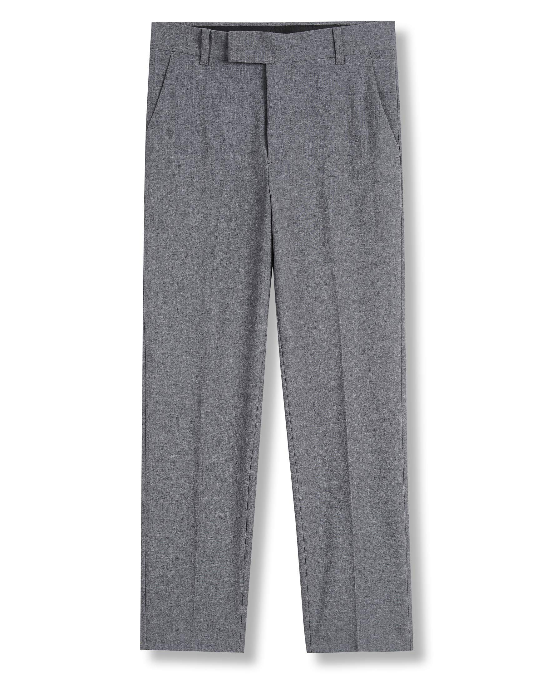 Calvin Klein Boys' Big Bi-Stretch Flat Front Dress Pant, Grey Heather, 12 by Calvin Klein