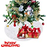 "iChefer Christmas Tree Skirt White Plush Holiday Tree Ornaments Decoration for Merry Christmas Home Party Decoration 30.7"" (30.7 inch)"