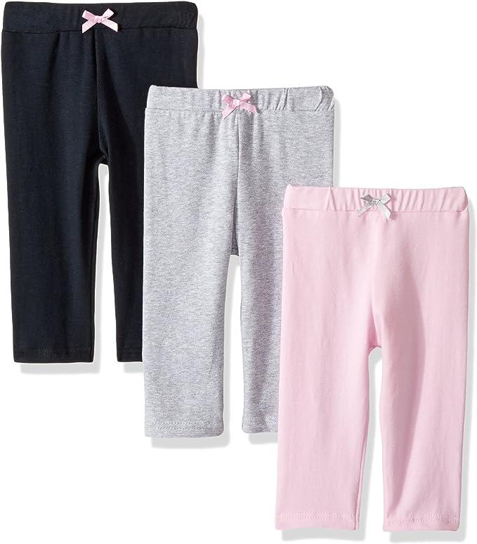 3-Pack Luvable Friends Girl Baby Leggings Pink Rose