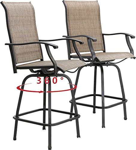 Cheap PatioFestival Patio Swivel Bar Stools Outdoor High Bistro Stools Height Chairs All Weather Garden Furniture Bar Dining Chair,Set of 2 outdoor bar stool for sale