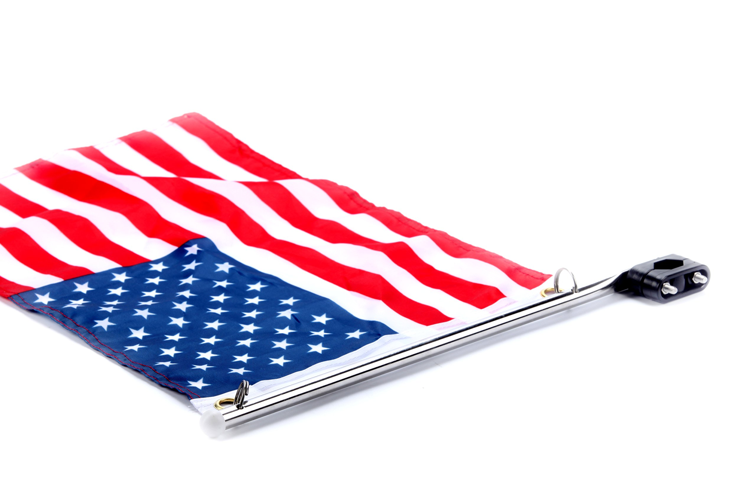 Amarine-made Stainless Steel Rail Mount Boat Pulpit Staff (7/8'' - 1 1/4''), Boat Yacht Marine Flag Pole with US Flag by Amarine-made