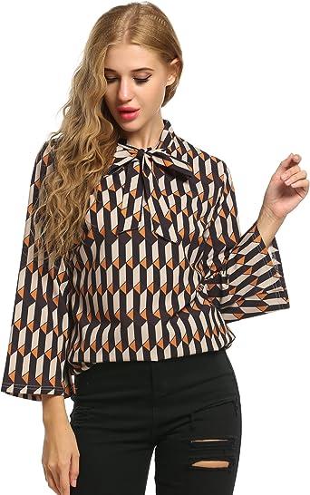 Meaneor - Blusa de manga larga para mujer, elegante, cuello redondo, camiseta de manga larga con lazo: Amazon.es: Ropa y accesorios