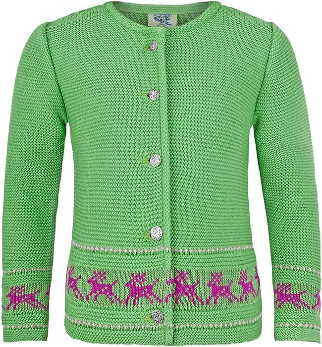 4b5b6e7553 Strickjacke Jenny mit Hirschstickerei Kiwi - Wunderschöne Trachtenjacke für  Mädchen zu Oktoberfest, Kirchweih oder Ausflug
