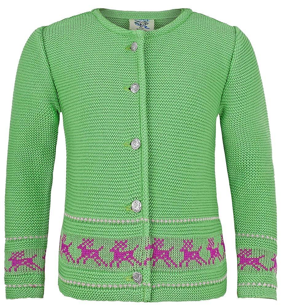 Strickjacke Jenny mit Hirschstickerei Kiwi - Wunderschöne Trachtenjacke für Mädchen zu Oktoberfest, Kirchweih oder Ausflug Isar Trachten
