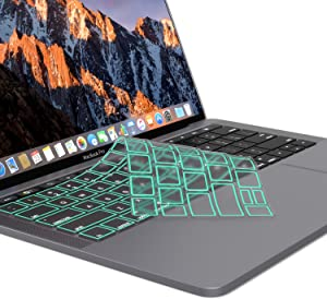 Kuzy - MacBook Pro Keyboard Cover with Touch Bar 13 and 15 inch Premium Ultra Thin TPU 2019 2018 2017 2016 (Apple Model A2159 A1989 A1990 A1706 A1707) Skin Protector - Mint