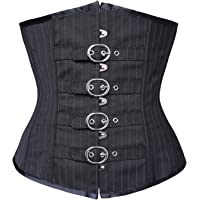 Charmian Women's Steampunk Gothic Waist Cincher Stripe Buckles Underbust Corset