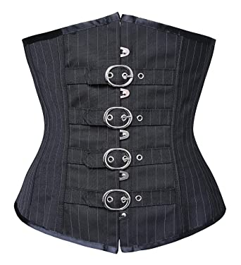 fb8f52b375 Charmian Women s Steampunk Gothic Waist Cincher Pinstripe Boned Underbust  Corset with Buckles Black X-Large
