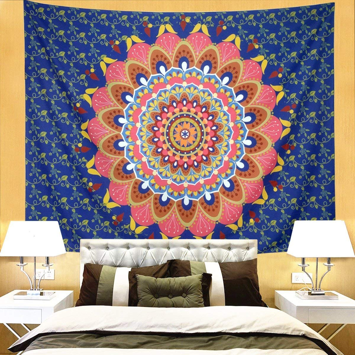 DIPPERION Mandala Tapestry Wall Hanging Blue Tapestry Floral FLower Tapestry Bohemian Mandala Tapestry Indian Hippie Hippy Tapestries Psychedelic Tapestry Wall Tapestry