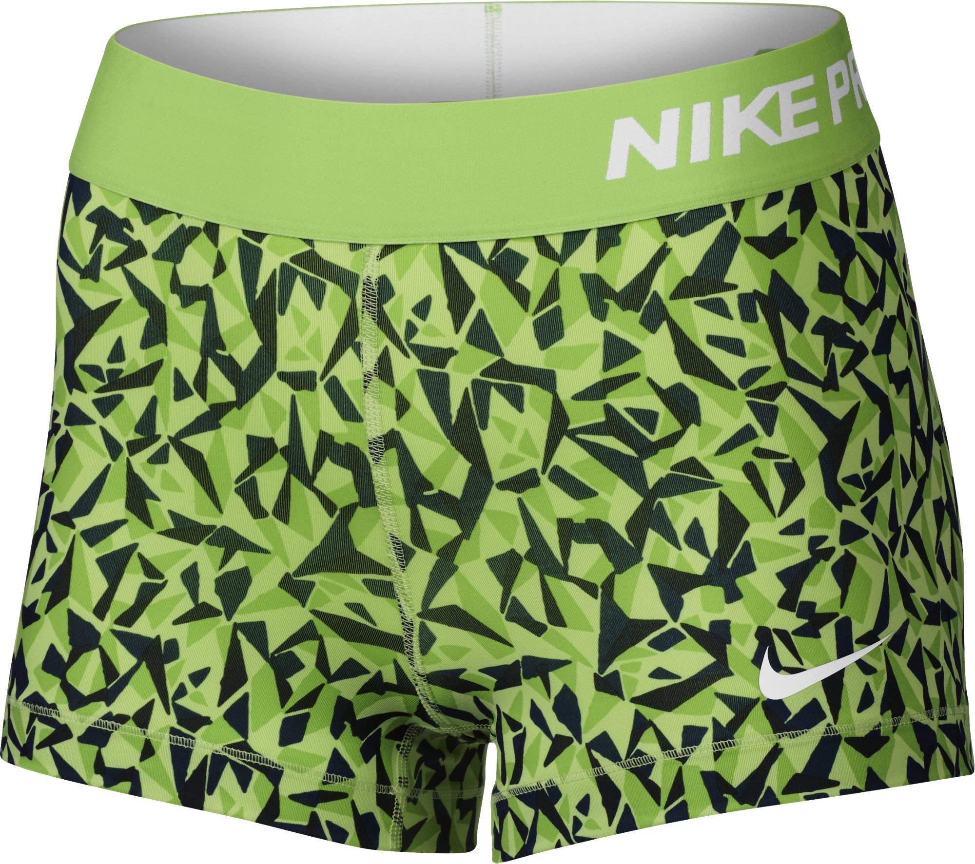 Nike Pro 3'' Cool Short Facet Women's Shorts (Action Green/Black/Key Lime/White, X-Small)