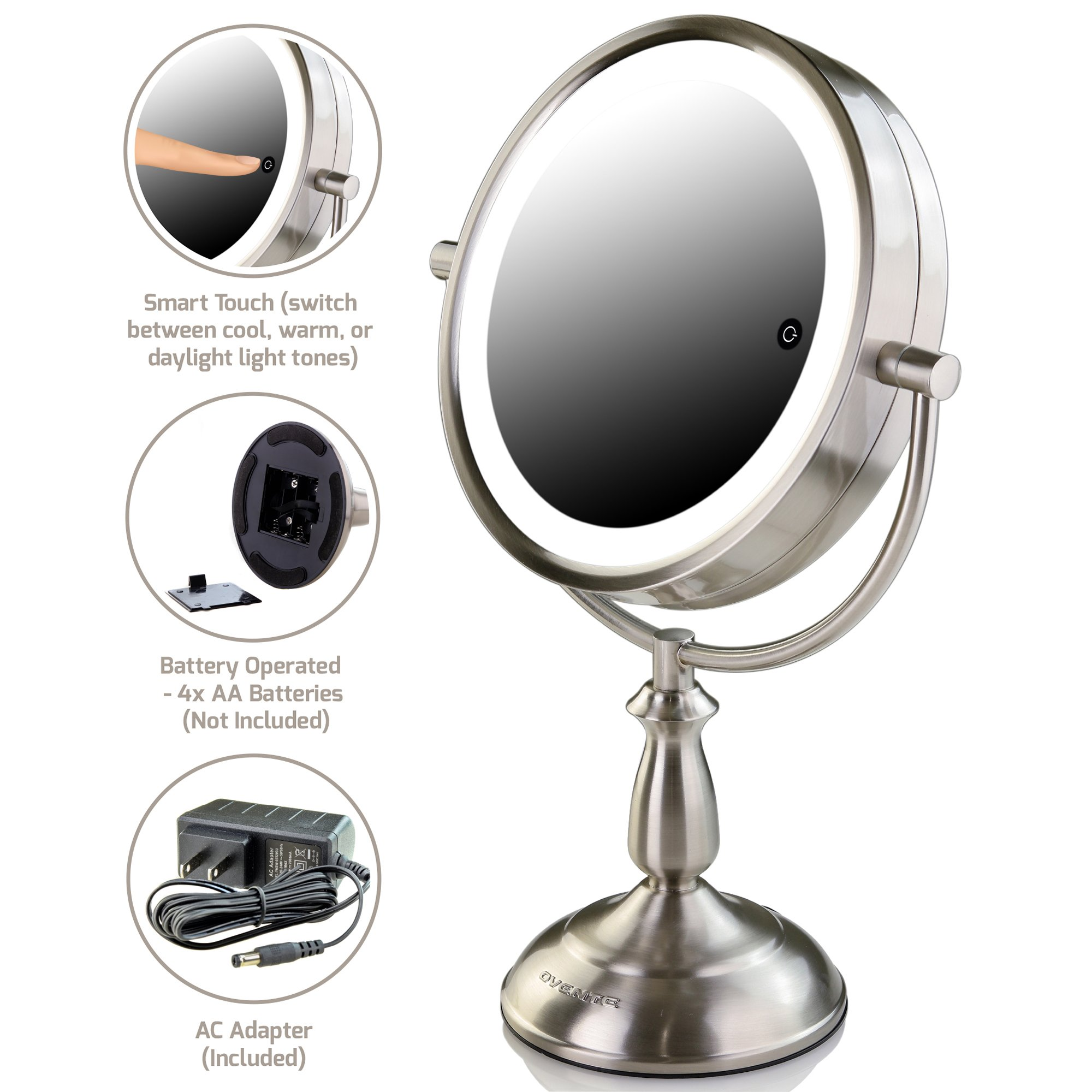 Ovente 7.5'' Lighted Tabletop Mirror, SmartTouch Cool, Warm, Daylight LED Tones (1X5X, Brushed)