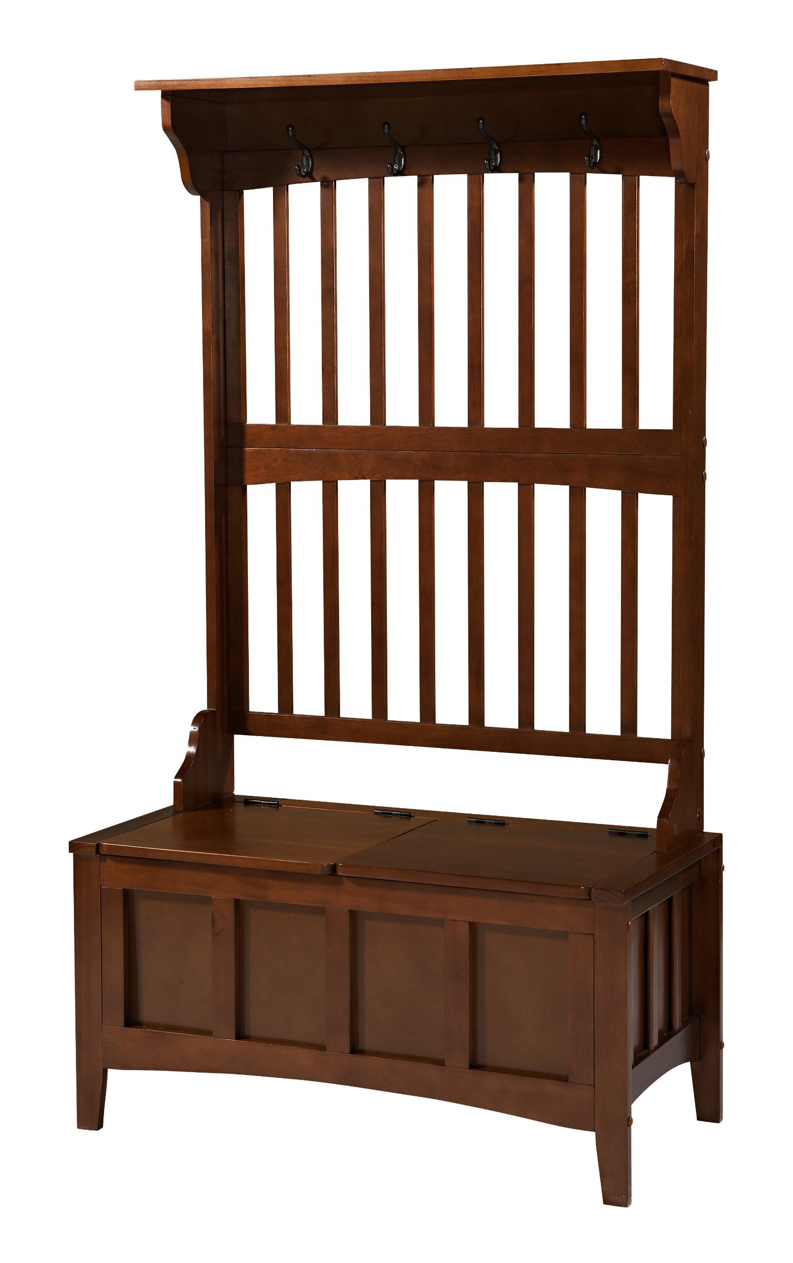 Linon 84017WALC-01-KD-U Hall Tree with Storage Bench, 36'' W x 18'' D x 64'' H, Walnut by Linon