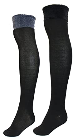 1203e3094 Sockaholic Women s Thigh High Over The Knee Socks with Furry Cuff (2Pr) -  Black