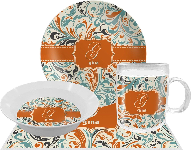 Orange & Blue Leafy Swirls Dinner Set - 4 Pc (Personalized) by RNK Shops