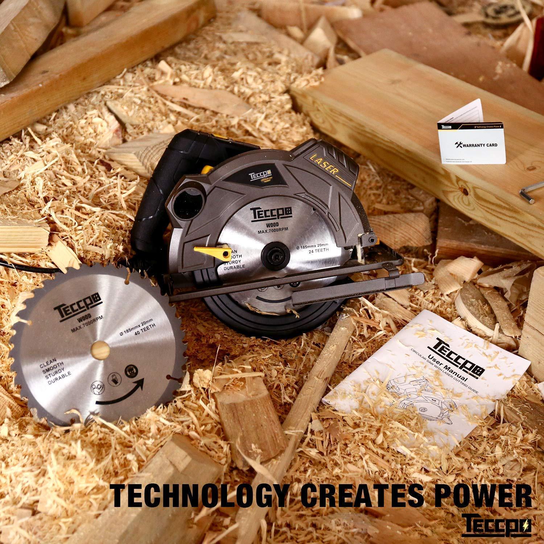 90/° Profundidad de Corte 63mm TECCPO 1500W 5800 RPM Sierras Circulares TACS01P 45/° 45mm 2 Hojas /Ø185mm Gu/ía L/áser Sierra Circular Motor de Cobre Puro