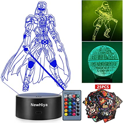 Amazon.com: Luz nocturna 3D de Star Wars, 16 colores ...