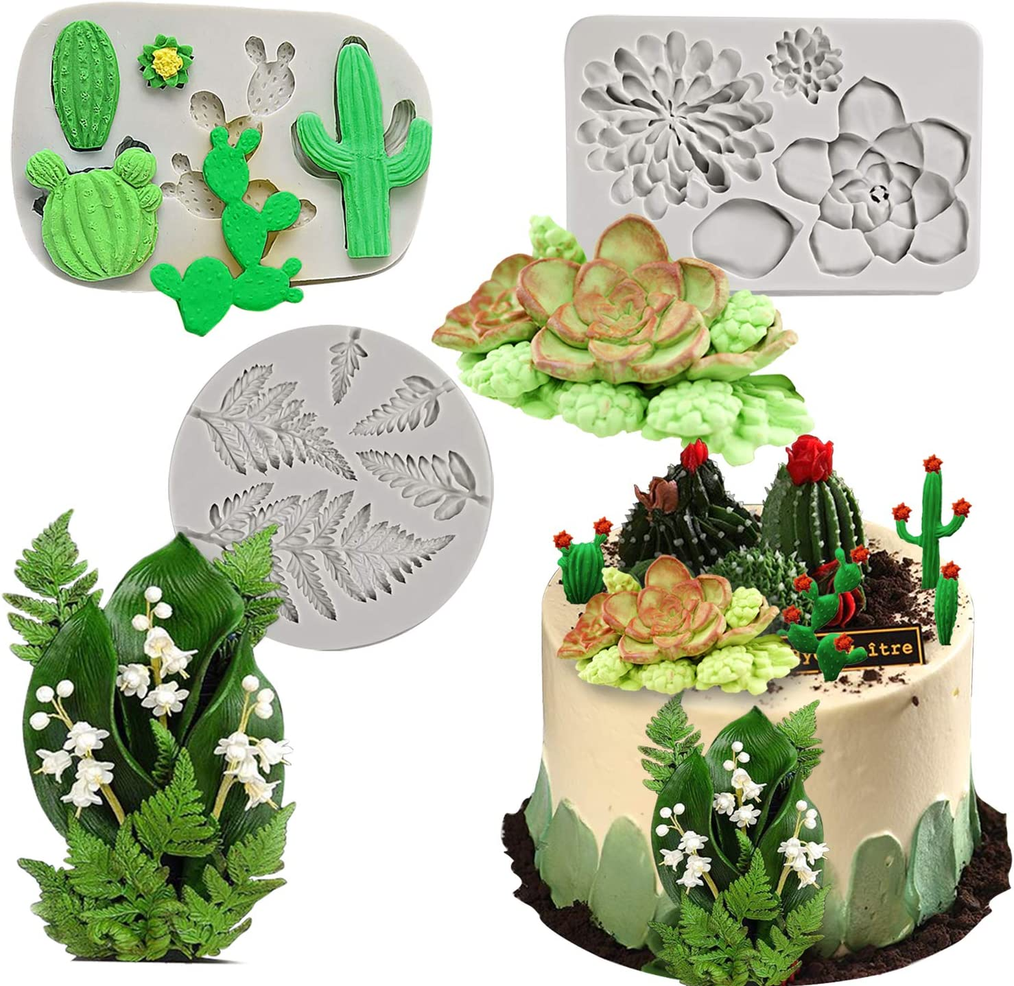 Palksky Silicone Cactus Fondant Mold/Succulent Leaves Candy Molds/Fern leaf Gumpaste mold for cup cake decorationg Polymer Clay