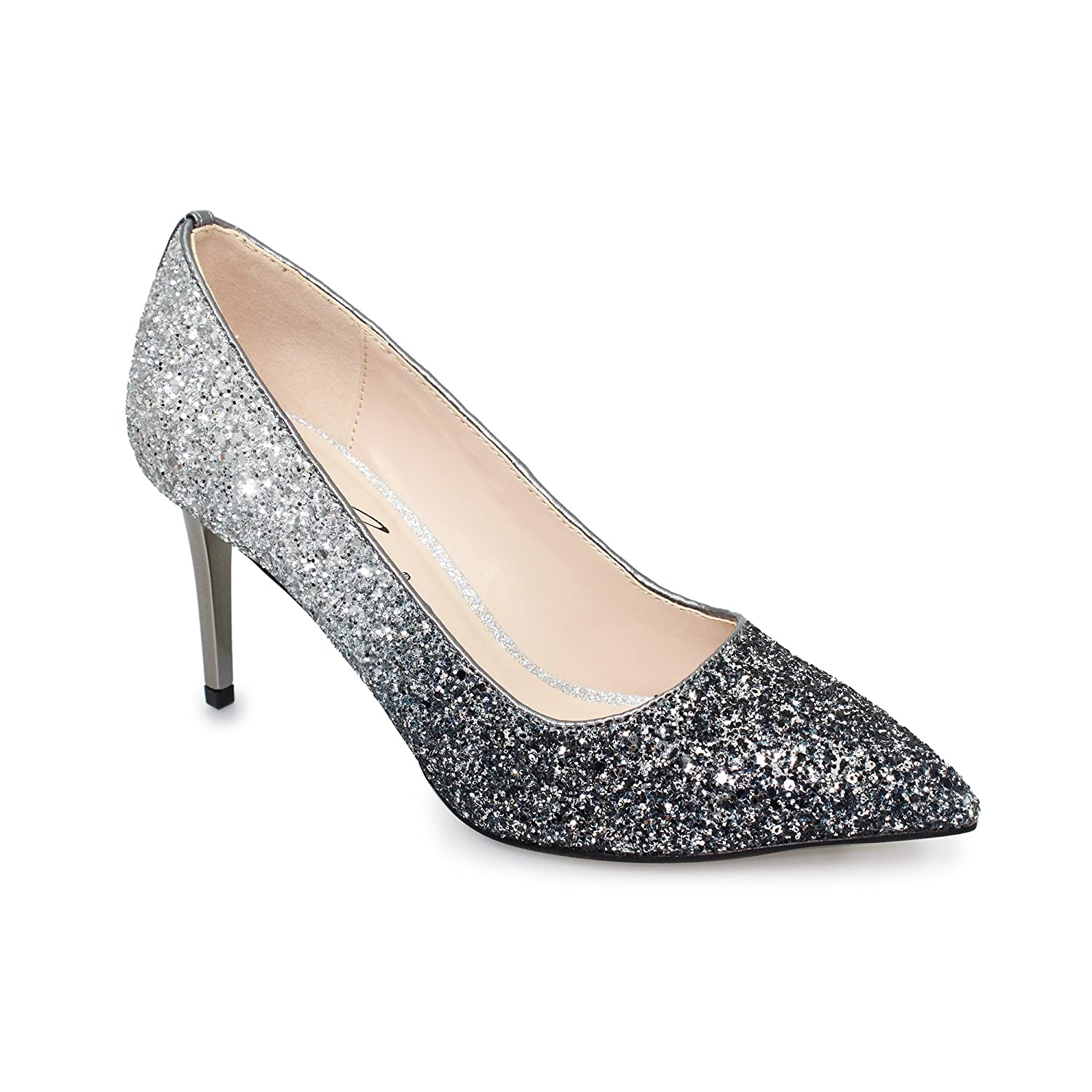b5525e283967 Lunar Women s Dusk  Two Tone Glitter Heeled Court Shoe in Pink Gold Or  Pewter Grey  Amazon.co.uk  Shoes   Bags