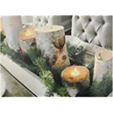 """LED Lighted Flickering Rustic Lodge Woodland Birch Candles Christmas Canvas Wall Art 11.75"""" x 15.75"""""""
