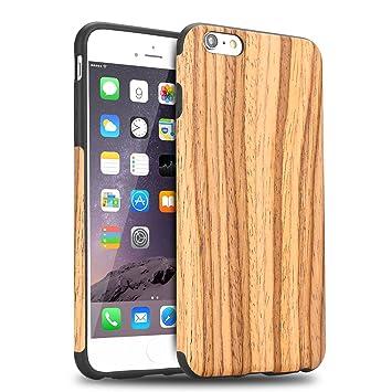 TENDLIN Funda iPhone 6s Grano de Madera Silicona TPU Híbrido Suave Carcasa para iPhone 6 6s, Madera de Teca