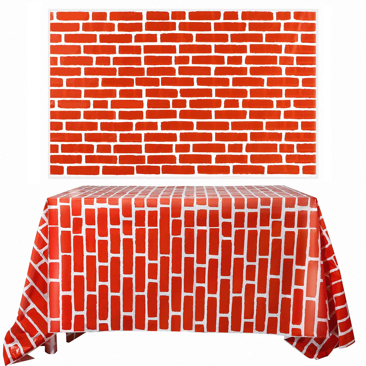 Chuangdi 2 Sheets 4.5 x 9 Feet Brick Decal Photo Brick Wall Backdrop Brick Sticker Wallpaper for Winter/Christmas Party (Red Brick) by Chuangdi