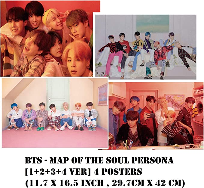 4 Posters Love Yourself 承 BigHit BTS L +O + V + E ver Her DNA 11.7 X 16.5 inch