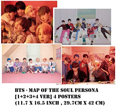 4 Posters BTS MAP of The Soul Persona 1+2+3+4 ver 11.7 X 16.5 inch, 42 x 29.7cm