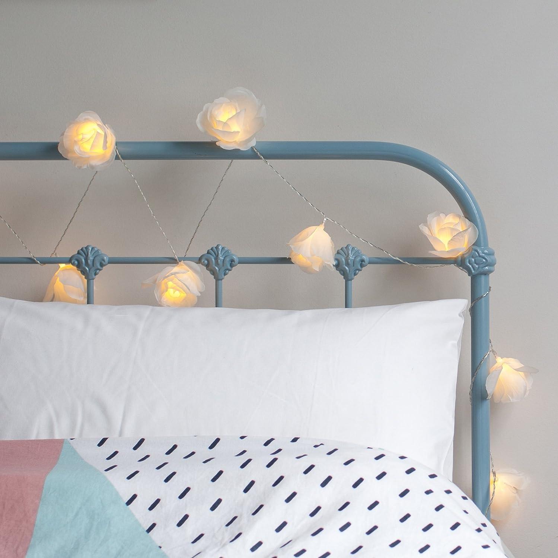 Lights4fun 20er LED Rosen Lichterkette warmwei/ß batteriebetrieben