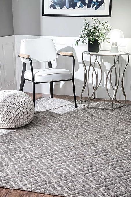 amazon com hand hooked triple diamond trellis grey area rugs 7