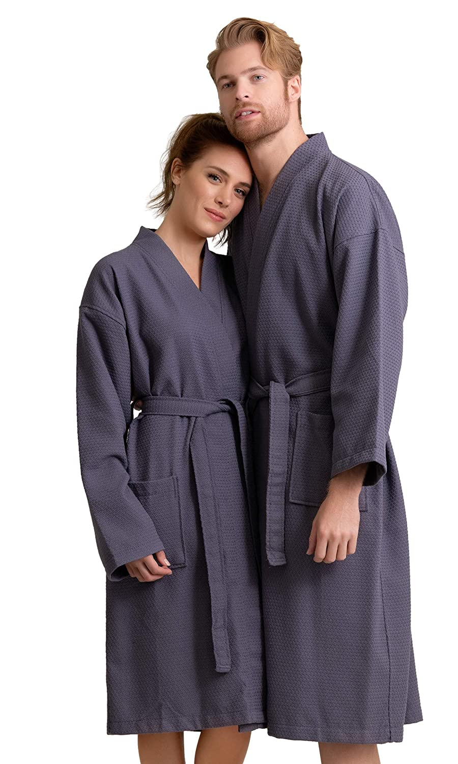 KLJR-Men Short Sleeve Summer Robe Lightweight Cotton Bathrobes