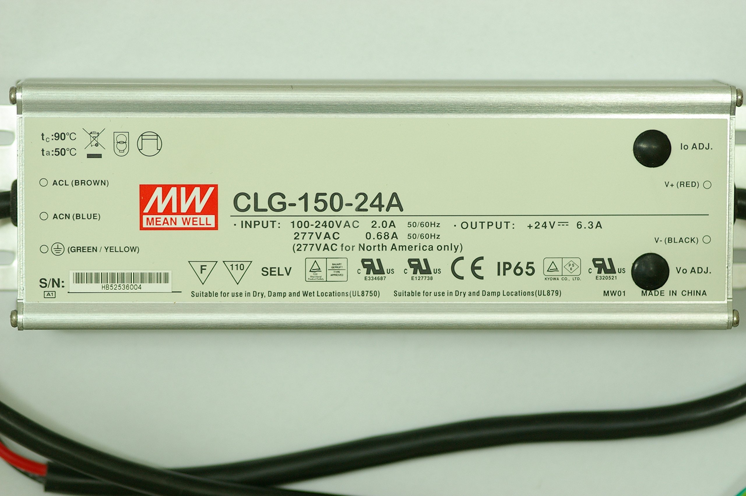 Mean Well CLG-150-24A 24V 6.3A Power Supply LED Driver Water & Dust-proof