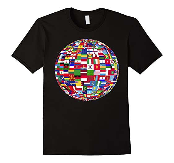 Amazon globe of flags world map atlas tshirt clothing mens globe of flags world map atlas tshirt 2xl black gumiabroncs Images