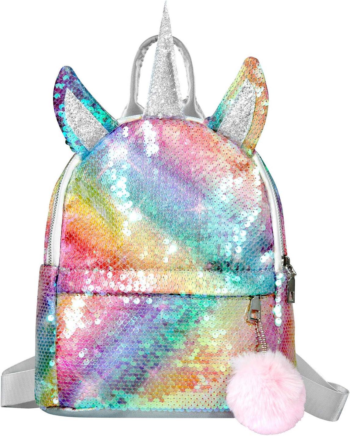 WolinTek Mochila de Unicornio, Mochila Escolar para niña, Mochila de Lentejuelas, Mochila de Viaje,Mochila de Moda Cute Glitter Girl