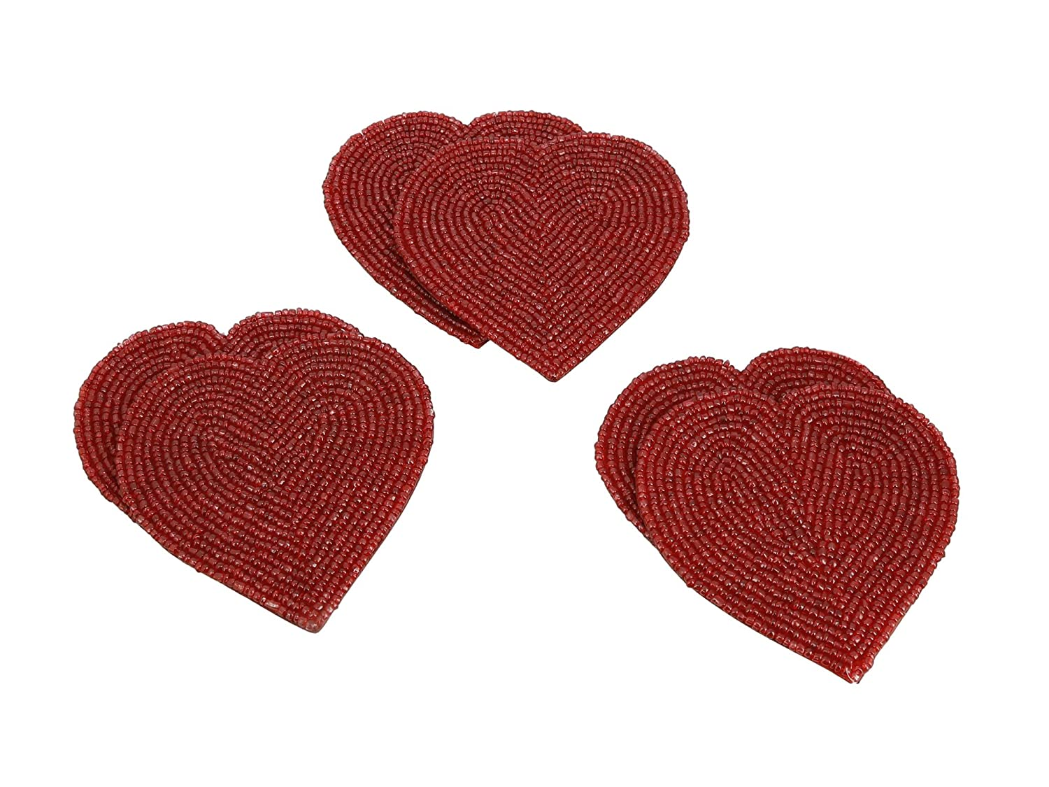 Heat-Resistant Polyester Backing /& Genuine Glass Beads ShalinCraft MN-ATSS/_TCRHR 4 Coasters Heat-Resistant Polyester Backing /& Genuine Glass Beads 4 Coasters Handmade Beaded Heart Coaster Set With 6 Red