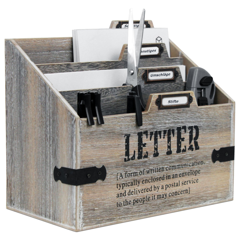 Briefablage mit 3 Fächern in Shabby-Optik Braun/Weiß Briefhalter Briefständer Postablage Wohaga