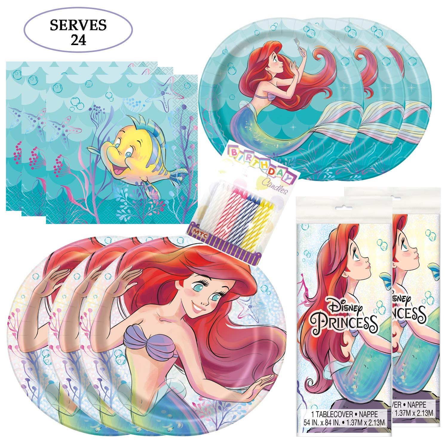 Little Mermaid Themed Party Pack - Includes 24 9'' and 24 7'' Paper Plates, 48 Luncheon Napkins, 2 Matching Table Cloth, Plus 24 Birthday Candles - Serves 24
