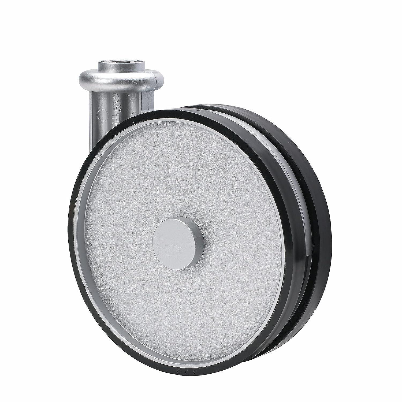 Rigid Non-Brake Caster BH 1 x 2 FL 210 SP 2 Non-Marking Very Soft Rubber Wheel 50 mm Schioppa 75 lbs Plate: 2 x 2-1//2